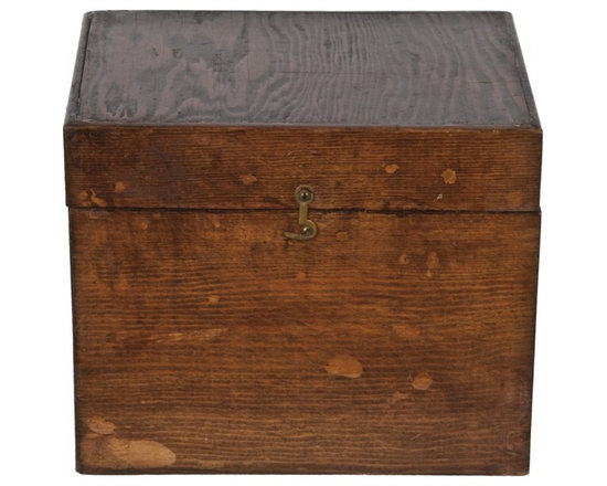 "Handmade Wood Storage Box - Vintage handmade wood storage box for storing 5"" x 7"" index cards."