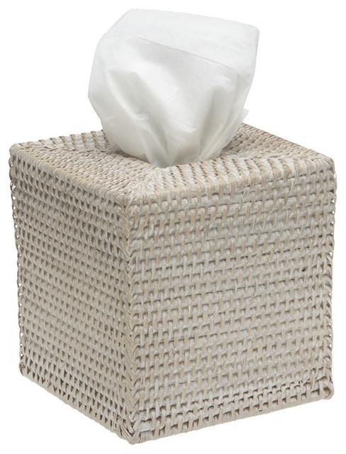 Square rattan tissue box cover white wash contemporary - White wicker bathroom accessories ...