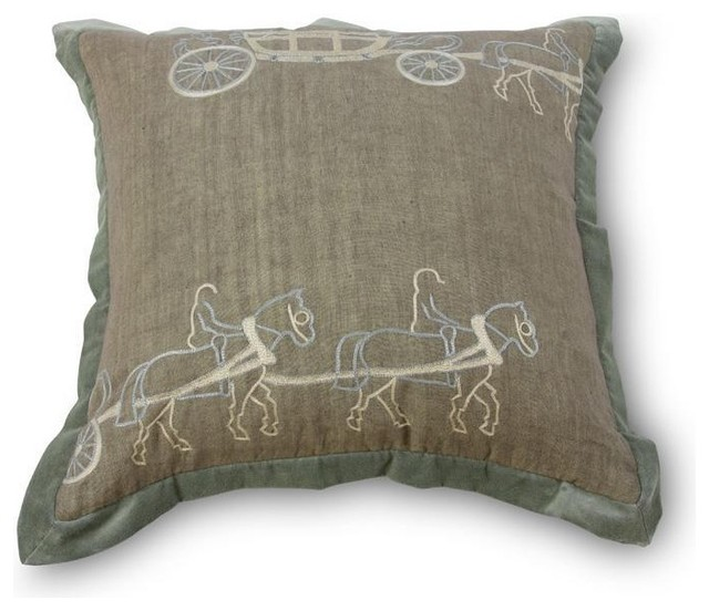 Mr Brown Two Horse Carriage Pillow-Pink traditional-pillows