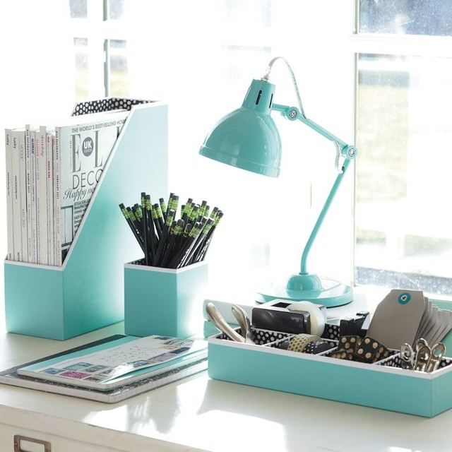 Preppy paper desk accessories solid pool contemporary - Designer desk accessories and organizers ...