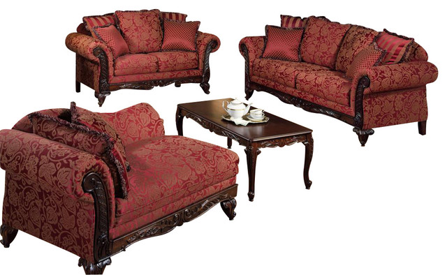 Chelsea Home Serta Tia 3 Piece Living Room Set In Momuntum Magenta Traditional Living Room