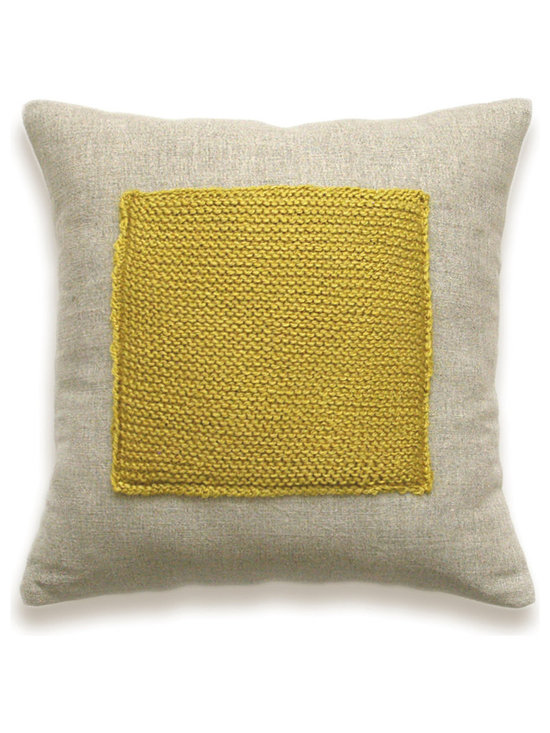 Color Block Linen Knit Pillow Cover In Mustard Yellow Flax Beige 16 inch -