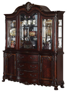 Homelegance Deryn Park Buffet and Hutch in Cherry - Traditional - China Cabinets And Hutches ...