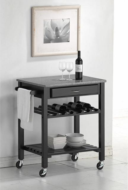 Quebec Black Wheeled Modern Kitchen Cart with Granite Top contemporary-kitchen-islands-and-kitchen-carts