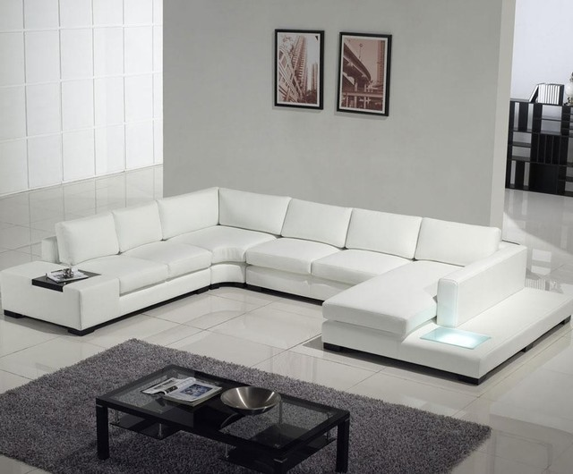 Modern white top grain leather sofa modern sofas los for Contemporary leather furniture