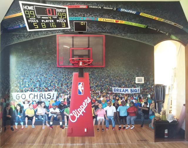Basketball mural in boy 39 s dream bedroom contemporary for Basketball court wall mural