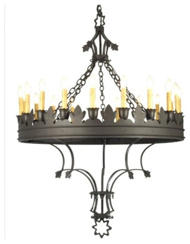 salle 19 light rustic chandelier in wrought iron rustic chandeliers new york by. Black Bedroom Furniture Sets. Home Design Ideas