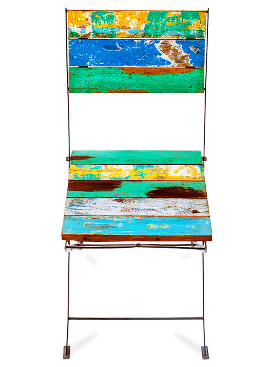 EcoChic Lifestyles - Teak for Two Reclaimed Wood Folding Chair - The versatile folding Teak for Two Chair is as sweet as they come. Each one has uniquely colored slats made with fishing boat wood. The folding base is constructed of iron reclaimed from bridges. Pair with the Teak for Two Table and you have the cutest bistro set on the block.