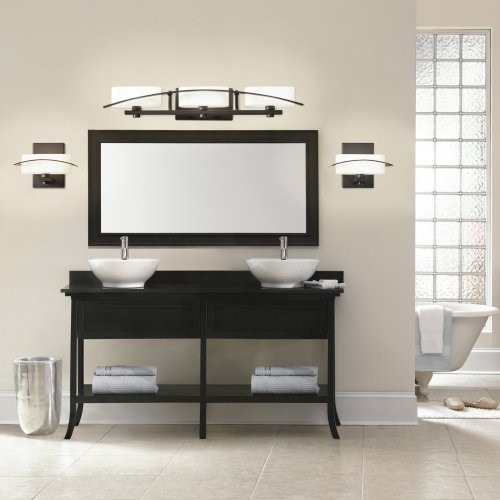 Beautiful See Four Ways To Update A Half Bath Or Small Bathroom Using Instock Materials A Brushed Nickel Light Fixture 27219 Complements The Modern Finishings In This