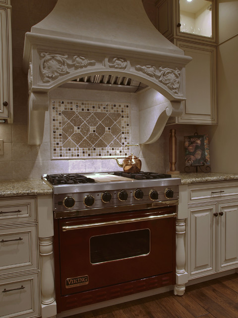 White Antique Look Old World Kitchen Hood Traditional
