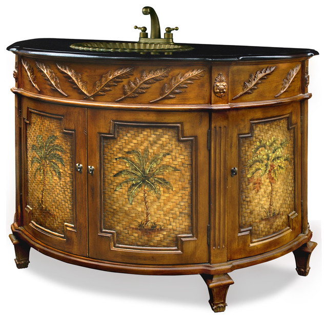 palm tree motif vanity with granite top tropical bathroom vanities and sink consoles by