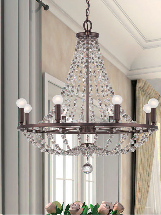 "Channing Collection 8-Light 28"" Chocolate Bronze Chandelier with Hand Cut Crysta - In stringing the beads for the Channing, we were inspired by the floating beaded necklaces in jewelry - which is very much in fashion today. We put space between the beads and combined different sizes and colors of faceted crystal, creating a less formal and much more contemporary design. By staggering the beads and varying the sizes, you are able to see the golden teak, golden shadow and clear beads very clearly."