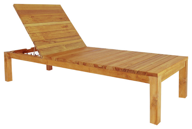 Mazzamiz Wooden Sun Lounger - modern - outdoor chaise lounges ...