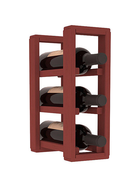 Wine Racks America® - 3 Bottle Counter Top/Pantry Wine Rack in Pine, Cherry Stain - These counter top wine racks are ideal for any pantry or kitchen setting.  These wine racks are also great for maximizing odd-sized/unused storage space.  They are available in furniture grade Ponderosa Pine, or Premium Redwood along with optional 6 stains and satin finish.  With 1-10 columns available, these racks will accommodate most any space!!