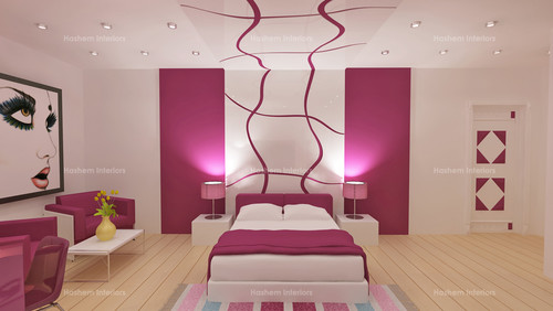 Hi love the pink design going uo the wall at the bed head for Bed head design images