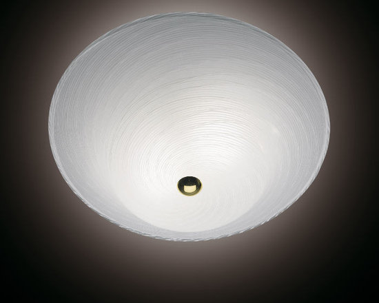Venini - Galassia Ceiling Flush Mount - Galassia Ceiling Flush Mount features hand blown glass in Milk White or Crystal with a Gold final. Two 60 watt, 120 volt A19 type medium base incandescent bulbs are required, but not included. 17.71 inch width x 5.5 inch height.