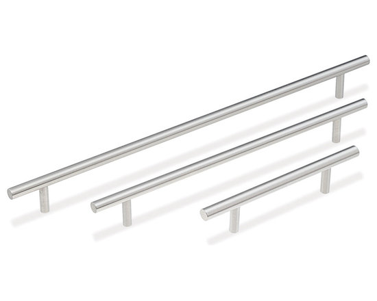 """5/16"""" dia. Rod Pulls - DP55 Series - Beautiful concept, beautiful execution! This rod pull features a large diameter bar mounted onto smaller diameter posts. It offers an elegant look and goes with almost everything. Rod pull comes fabricated with chamfered edges. Meets ADA guidelines. Available in six sizes."""