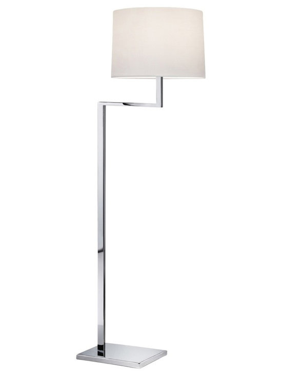 "Sonneman - Sonneman Thick Thin Polished Chrome Floor Lamp - The Thick Thin collection of Sonneman lighting boasts handsome angular designs with very subtle style details that go a long way. This contemporary floor lamp comes in a gleaming polished chrome finish with thick base and neck columns softened by a thin arm. A rounded white cotton shade completes the look for superb balance. Sonneman Thick Thin floor lamp. Polished chrome finish. White cotton shade. Takes one 150 watt bulb (not included). On/off turn switch. 55 1/2"" high. 19"" wide. Shade is 10"" high 14 1/2"" wide. Base is 11"" wide 8"" deep.  Sonneman Thick Thin floor lamp.  Polished chrome finish.  White cotton shade.  Takes one 150 watt bulb (not included).  On/off turn switch.  55 1/2"" high.  19"" wide.  Shade is 10"" high 14 1/2"" wide.  Base is 11"" wide 8"" deep."