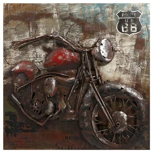 Motorcycle Home Decor : Motorcycle dimensional metal art eclectic home decor