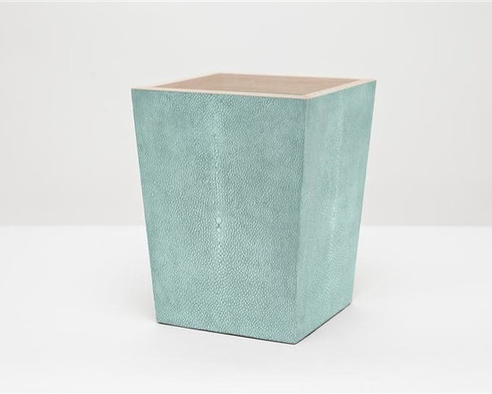"Manchester Wastebasket, Square-Turquoise - Up your elegance and add an edge to your aesthetic with our striking faux shagreen Manchester collection. Each piece is crafted to highlight the natural ""eye"" pattern inspired by real shagreen, and topped with a wood veneer trim. Available in five colors, every set is hand-finished to bring out the highs and lows of each hue. Turn the page to see the Manchester in every color!"
