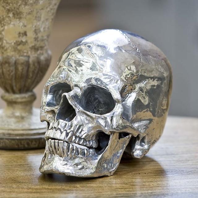 regina andrew silver metal skull eclectic home decor