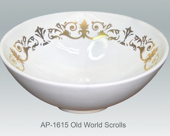 """Hand Painted Vessels Sinks by Atlantis - """"OLD WORLD SCROLLS"""" burnished gold Shown on AP-1615 La Fayette vessel sink O/D 15-3/4"""" Dia x 6"""" H center drain no overflow."""