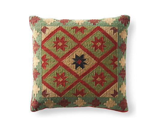 Grandin Road - Kerala Kilim Throw Pillow - Kilim toss pillows in your choice of size and pattern. Minimally processed wool provides an authentic, rustic texture to the cover – learn more. Plump polyester fill. Durable cotton backing. Zippered closure. Fill your home with the timeless patterns, colors, and textures of our authentic Kilim Throw Pillows. When it comes to bringing an artful touch to chairs, benches, and sofas, simply nothing else compares. Covers are masterfully artisan-crafted on traditional kilim looms, making each pillow a one-of-a-kind creation. Group multiple designs for an even more dramatic impact. . . .  . . Dry clean . Pillow inserts are vacuum packed to minimize shipping costs – simply fluff to restore shape . Imported.