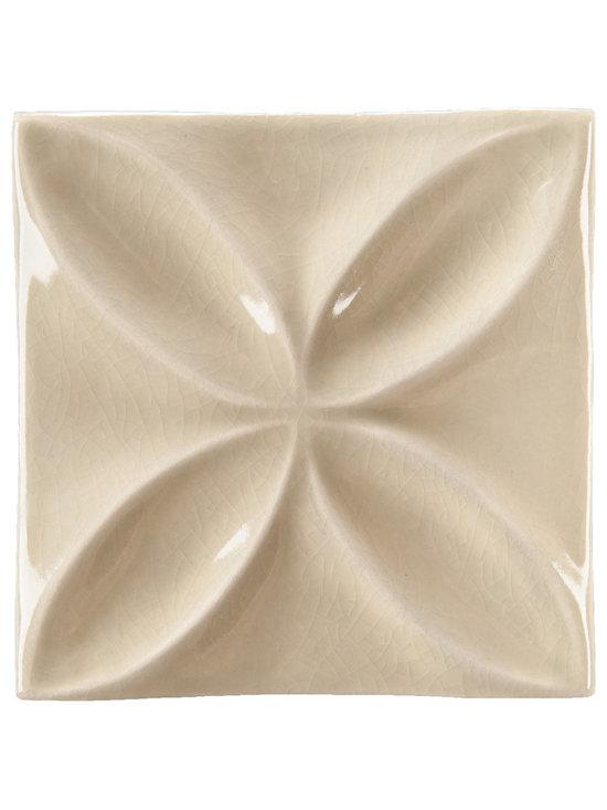 "Ceramic - ANN SACKS Circa 4"" x 4"" quatrefoil ceramic decorative tile in celery crackle"