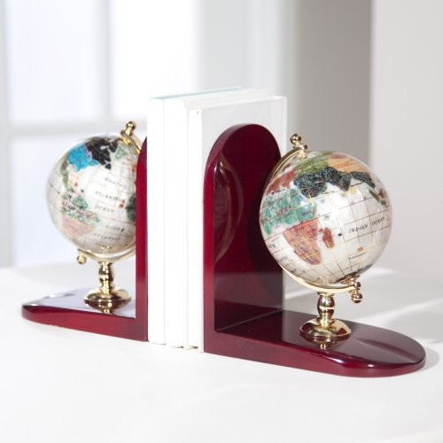 Gemstone Globe Bookends Mother of Pearl eclectic-desk-accessories