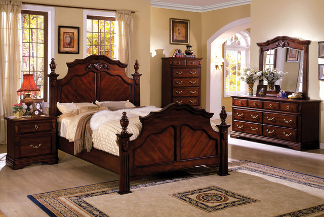 ... piece Dark Cherry Poster Bedroom Set - Victorian - Bedroom Furniture
