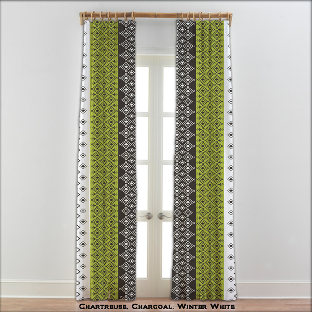 Moroccan Curtains In Charcoal Green And White 22 Other Colors Modern Curtains By
