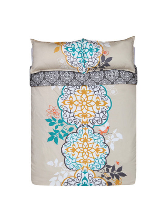 Bedding - Double décor options, double happiness. The front of our Shangri-La duvet set shows our dramatic, oversized medallion motif printed in turquoise, yellow ochre and storm grey on a white and pebble background. Look closely for a bird, a bee and flowers embroidered in coral. On the reverse, a pattern of white medallions stands like a screen set against storm grey Himalayan slopes. A real karma chameleon.