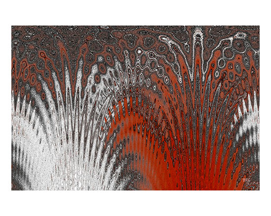 Water And Ice - Red Splash, by Ben and Raisa Gertsberg - canvas art, art print - Nature inspired contemporary abstract art, in color and shades of crimson red, grey and white, with rippling textured flowing patterns and lines, intricate shapes of moving water and ice - this modern decorative abstraction will create dynamic movement of feather like splash on your wall.