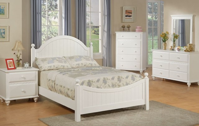 Cottage style white finish wood kids full panel bedroom for Youth bedroom furniture sets