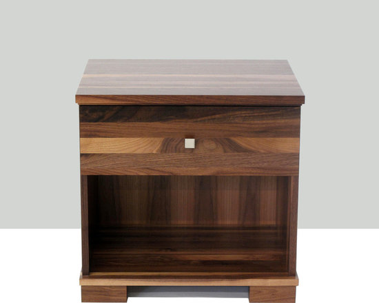 Highland Nightstand with 1 Drawer - The Highland Nightstand can be fully personalized to suit your style. Choose from custom options including 4 drawer pulls, 3 leg styles, detailing (bevel or square edge top and drawer fronts), wood choice and stain colours.