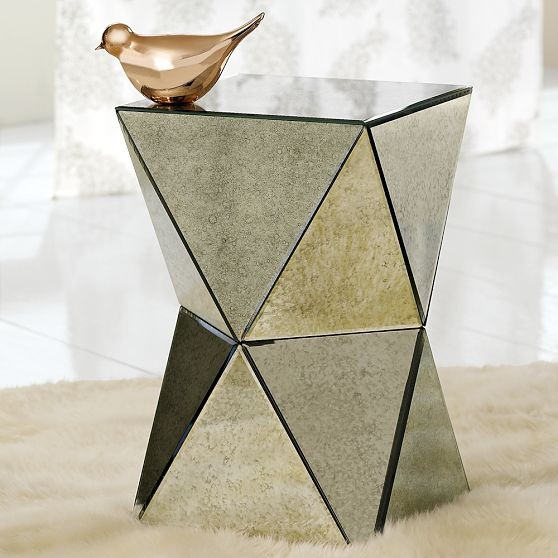 Faceted mirror side table contemporary side tables for Mirrored coffee table and end tables