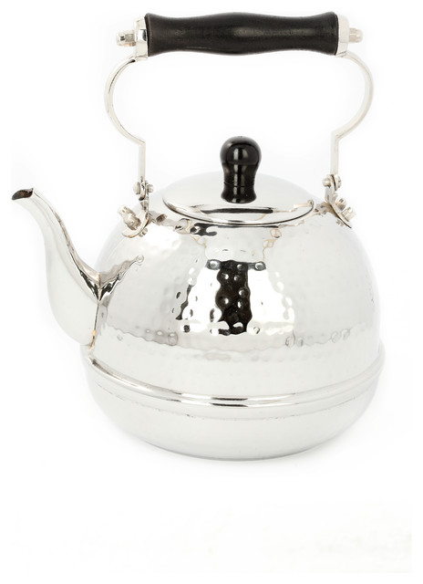 Stainless Steel Hammered Tea Kettle With Wooden Handle traditional-kettles