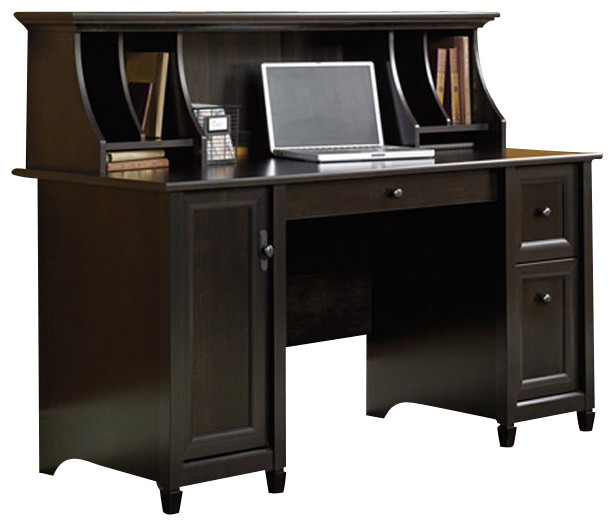 Sauder Edge Water Computer Desk and Hutch Set in Estate Black - Transitional - Desks And Hutches ...