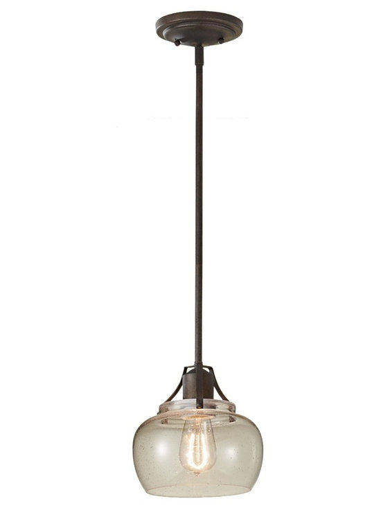 Urban Renewal Bronze Mini Pendant with Seeded Glass Carbon Filament Light - A smart, sophisticated take on Industrial lighting, the Urban Renewal pendant presents a warm rustic iron finish over a clever, open design. Showcase a few of these pendants for a serene, warm glow anywhere.
