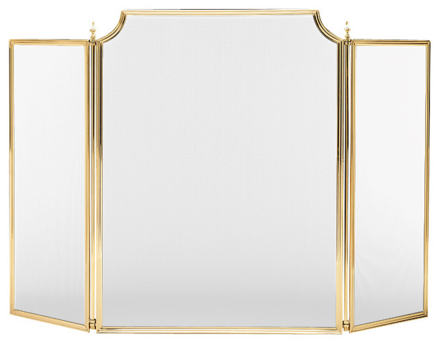 solid brass fireplace screen small 573 traditional
