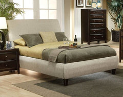 Transitional Queen Size Beige Fabric Bed transitional-beds
