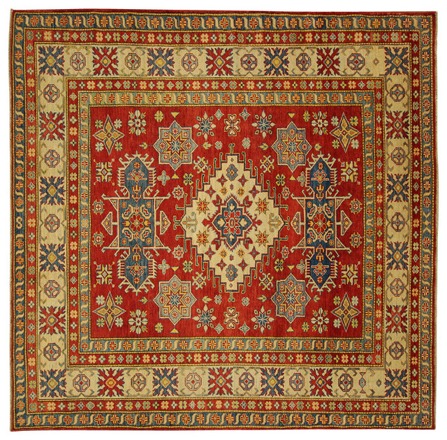 "New Mesa Collection Oriental 8'9"" X 8'9"" Square Kazak Hand Knotted Red Wool Rug traditional-area-rugs"