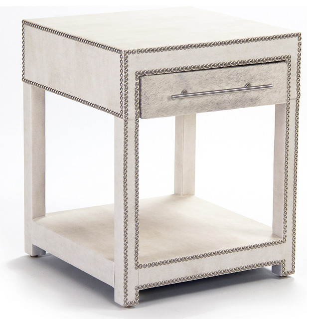 Modern Art Deco Hollywood Regency Hair on Hide Nightstand End Table transitional-nightstands-and-bedside-tables