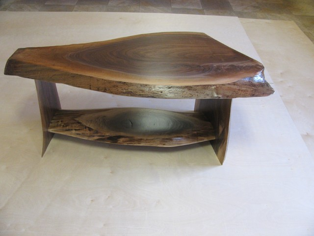 Walnut Slab Coffee Table 1 Traditional Coffee Tables Other Metro By Perry Creek
