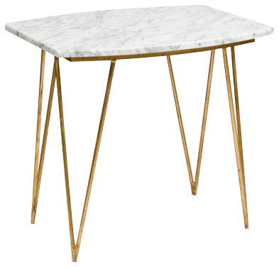 Worlds Away Suzy Gold Leaf and White Marble Side Table midcentury-side-tables-and-end-tables