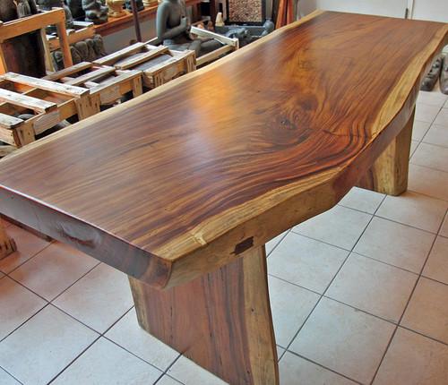 Large Vintage Monkey Pod Wood Slab Coffee Table: Dining Table: Monkey Pod Dining Table