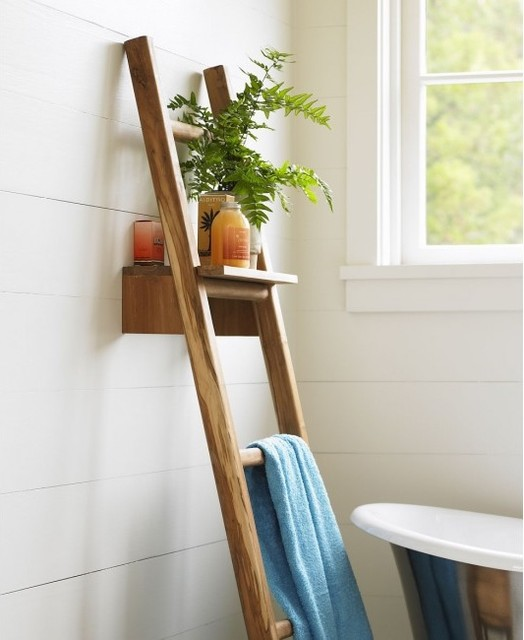 VivaTerra - Teak Ladder with Shelf traditional hooks and hangers