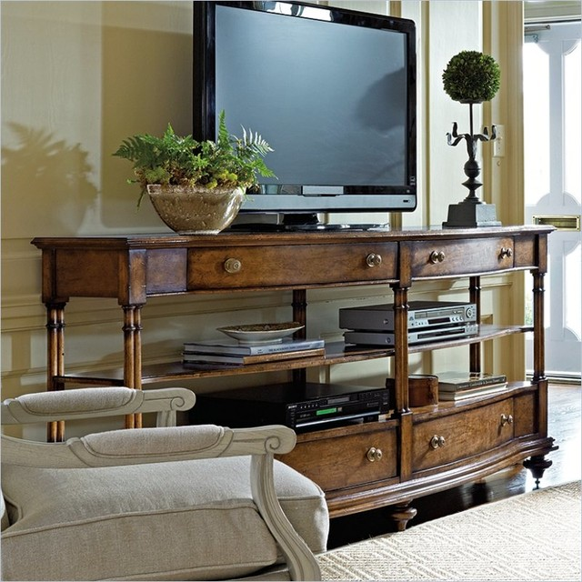 Stanley Furniture Arrondissement Rond Media Console in Heirloom Cherry traditional-media-storage