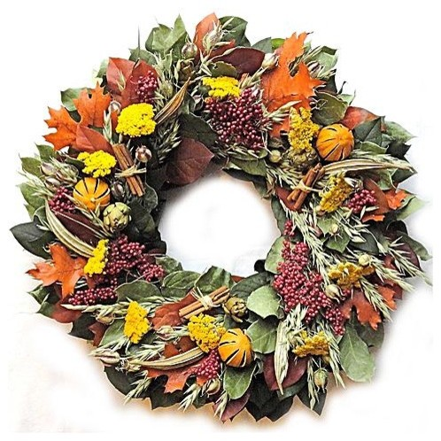"""Southern Fall Wreath - 22"""" dia. traditional-outdoor-holiday-decorations"""