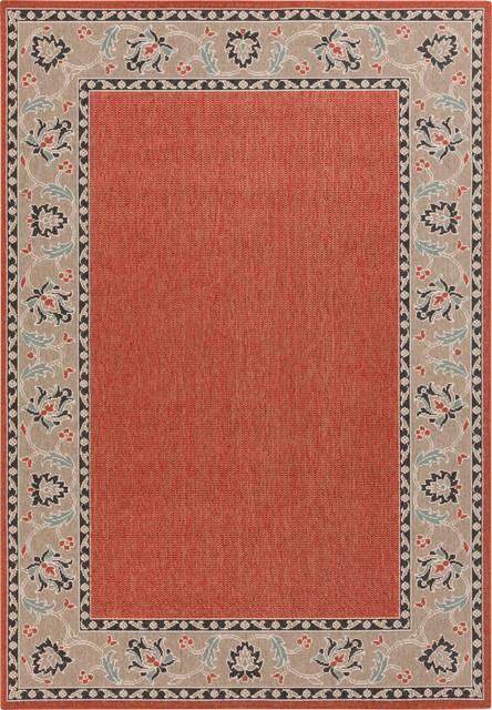 "Surya Alfresco ALF-9598 (Brick, Moss) 8'9"" Round Rug traditional-area-rugs"